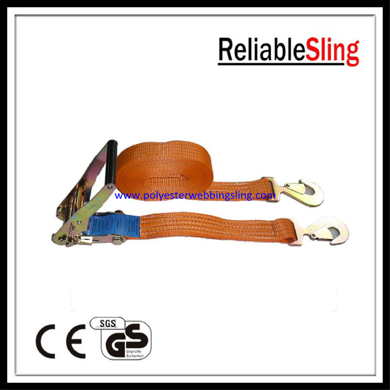 Polyester webbing cargo ratchet strap with Snap Hook for truck , car , boat