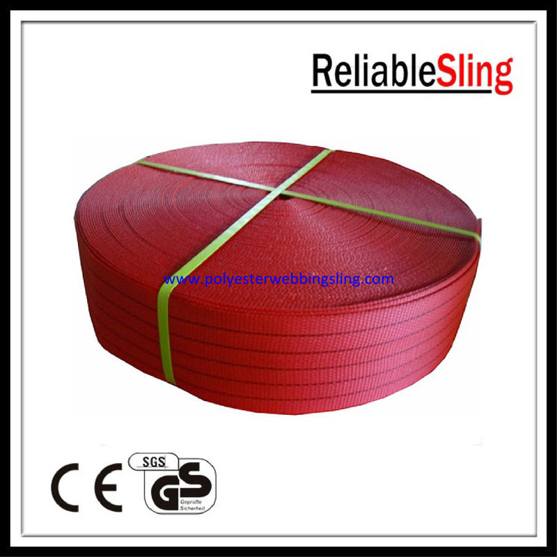5Ton Red 150mm 125mm Flat Polyester Webbing for Lifting Sling