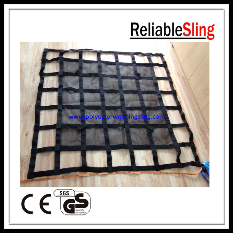 Construction and Industrial Webbing Cargo Net with Small ratchet and D ring