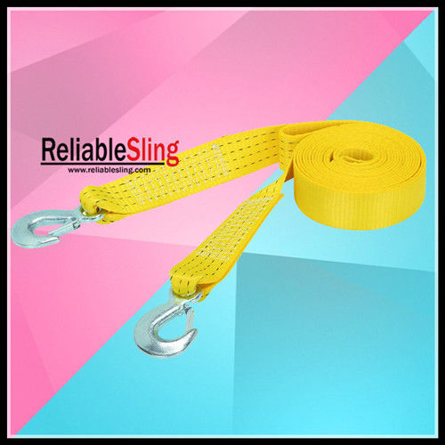 Colored Polyester Heavy Duty Tow Straps Whose Belts Forged Hooks
